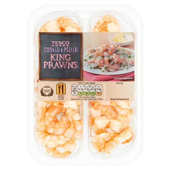 Tesco Cooked And Peeled King Prawns 160G
