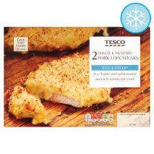 Tesco 2 Cheese And Mustard Pork Loin Steaks 390G