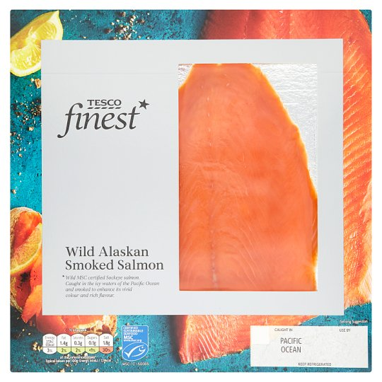 Tesco Finest Wild Alaskan Smoked Salmon 100G - Groceries - Tesco ...