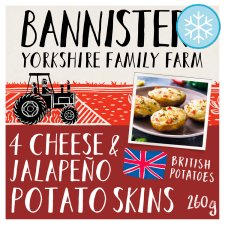 Bannister Farm 4 Cheese &Jalopeno Potato Skins 260G