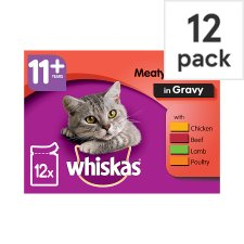 Whiskas Cat Food 11+ Meat Selection Pouches 12X100g