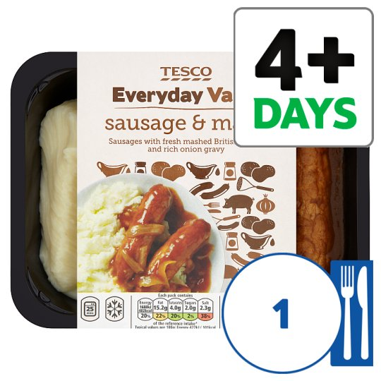 Tesco Everyday Value Sausage And Mash 400G