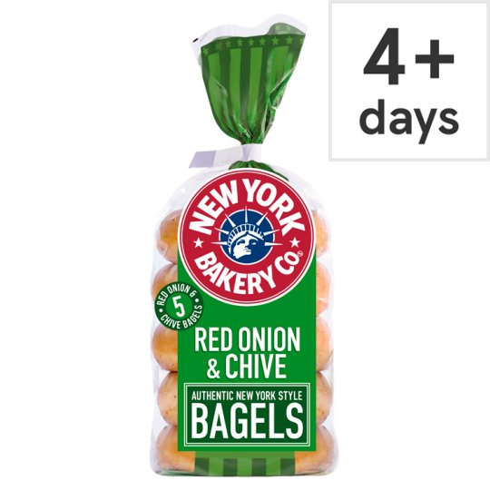 New York Bakery Red Onion And Chive Bagels 5 Pack