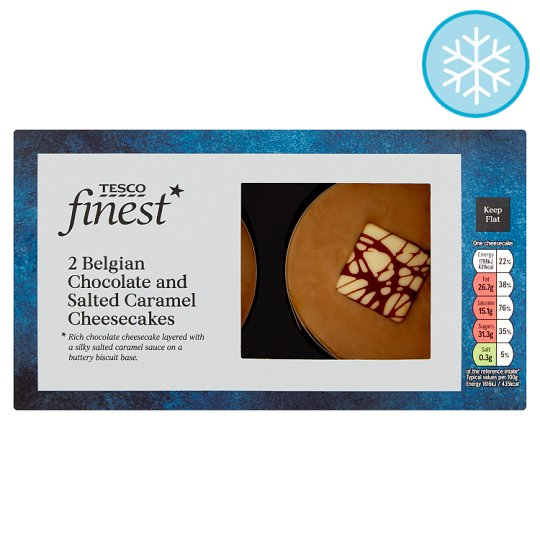 Tesco Finest 2 Chocolate And Salted Caramel Cheesecake 2X99g