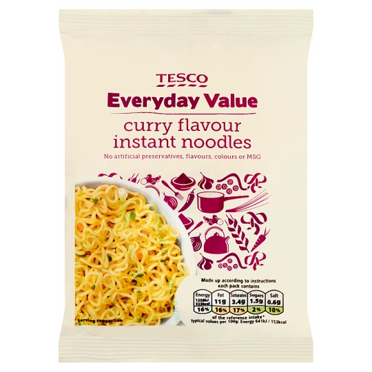 Tesco Everyday Value Curry Flavour Instant Noodles 65G