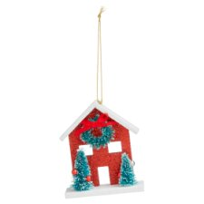 Tesco Red Glitter House Hanging Decoration