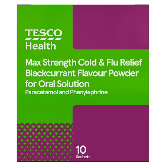 Tesco Max Strength Blackcurrant Cold And Flu 10
