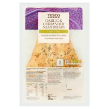 Tesco Garlic And Coriander Naan 2 Pack 260G