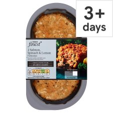 Tesco Finest 2 Salmon Spinach And Lemon Fishcakes 290G