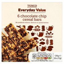 Tesco Everyday Value Chocolate Chip Cereal Bars 6 Pack 126G