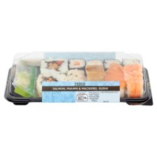Tesco Salmon Prawn Mackerel Sushi 217G