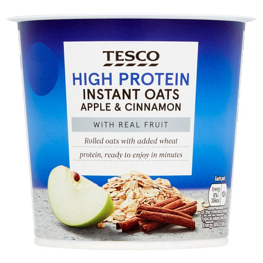 Tesco High Protein Instant Oats Apple And Cin 55G