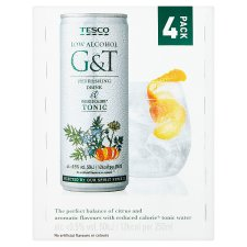 Tesco Low Calorie Virgin G&T 4Pkx250ml