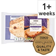 Tesco 6 Mini Plain Naan Breads 282G