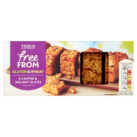 Tesco Free From Coffee And Walnut Slices 190G
