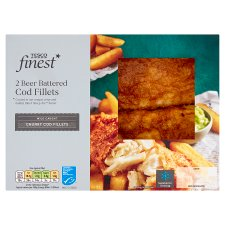 Tesco Finest 2 Beer Battered Cod Fillets 385G