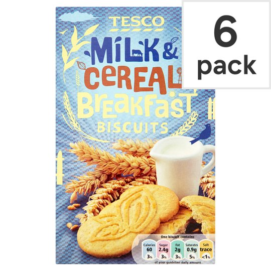 Tesco Breakfast Biscuits Milk And Cereal 6 Pack 300G
