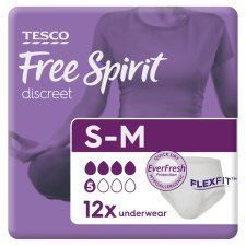 Tesco Free Spirit Active Underwear Small, Medium 12 Pack