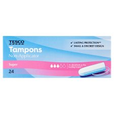 Tesco Non Applicator Super Tampons 24 Pack