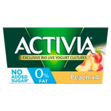 Activia 0% Fat Peach Yogurt 4 X125g