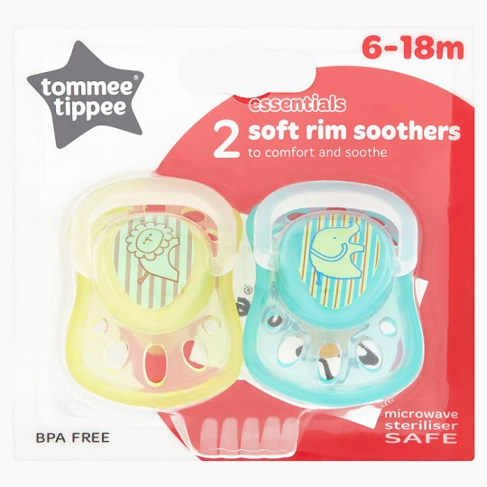 Tommee Tippee Soft Rim Soother 6-18 Mths X2