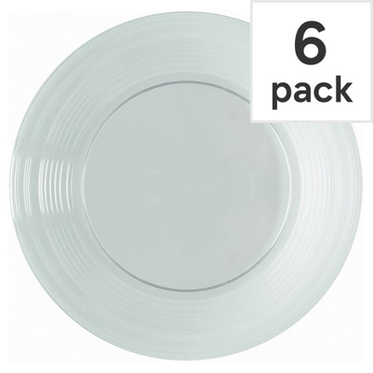 Tesco Plastic Plates Clear 23Cm 6 Pack