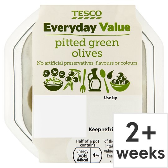 Tesco Everyday Value Pitted Green Olives 95G