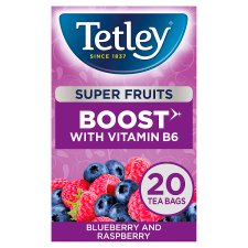 Tetley Super Fruit Boost Blueberry And Raspberry 20S 40G