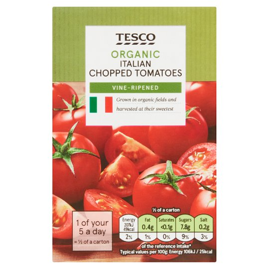 Tesco Organic Italian Chopped Tomatoes 390G