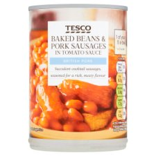 Tesco Baked Beans And Pork Sausages In Tomato Sauce 395G