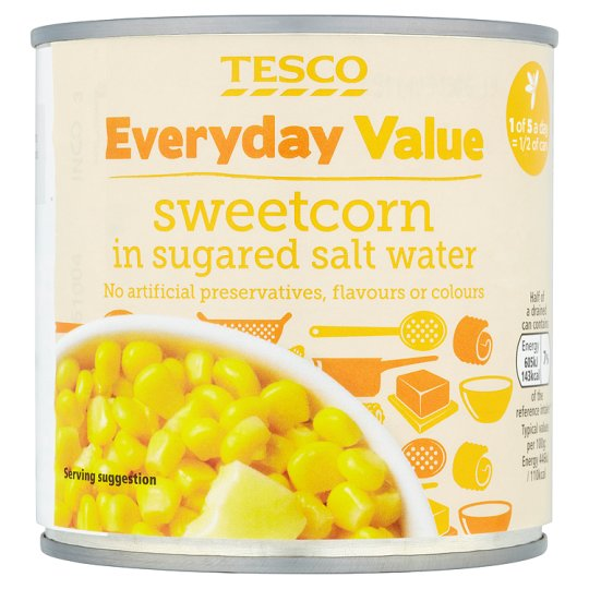 Tesco Everyday Value Sweetcorn In Saltwater 325G