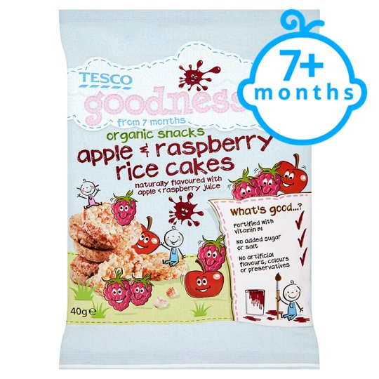 Tesco Goodness Apple And Raspberry Rice Cakes 40G