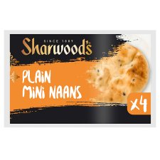 Sharwoods Mini Plain Naan 4 Pack 160G