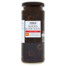 Tesco Sliced Black Olives In Brine 340G