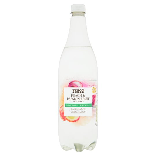 Tesco Peach And Passion Fruit Sparkling Water 1L
