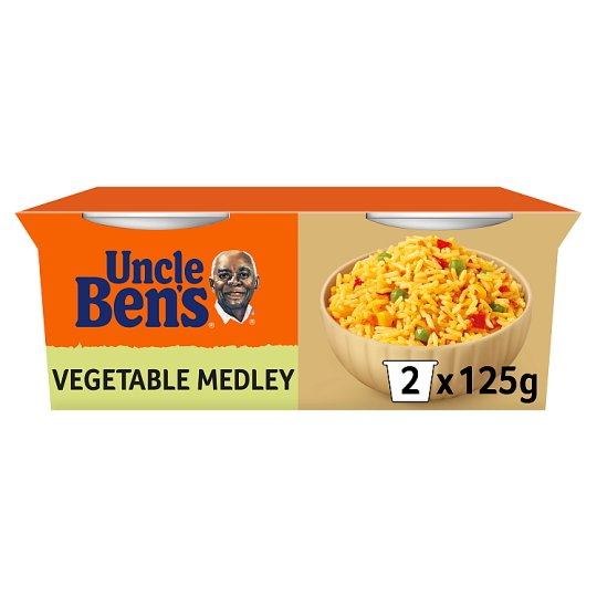 Uncle Bens Rice Cups Vegetable Medley 2X125g