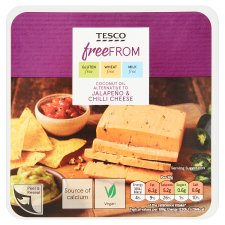 Tesco Free From Coconut Oil Alternative To Jalapeno And Chilli Cheddar 200G