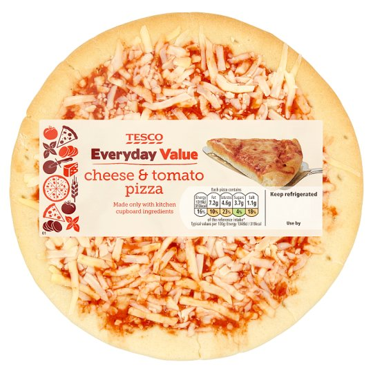 Tesco Everyday Value Cheese And Tomato Pizza 114G