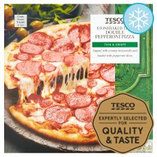 Tesco Stonebaked Thin Double Pepperoni Pizza 330G