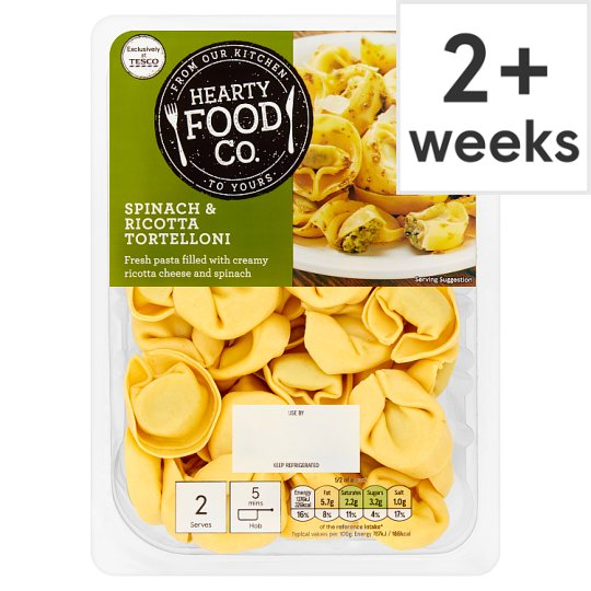 Hearty Food Co. Spinach And Ricotta Tortelloni 250G