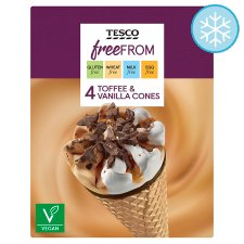 Tesco Free From Toffee And Vanilla Cones 4 X110ml