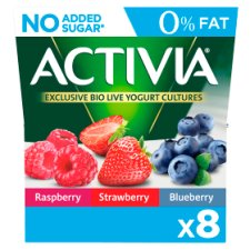Activia 0% Fat Red Fruits Yogurt 8 X125g