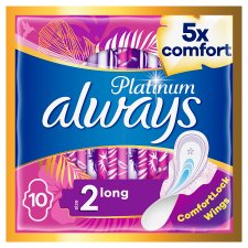 Always Platinum Long Size 2 Sanitary Towels With Wings 10