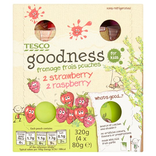 Tesco Goodness Pouches Strawberry And Raspberry 4X80g