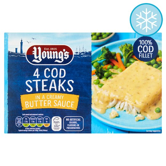 Youngs 4 Cod Steaks In Butter Sauce 560G