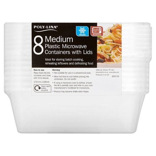 Polylina Medium Plastic Tubs And Lids 8 Pack