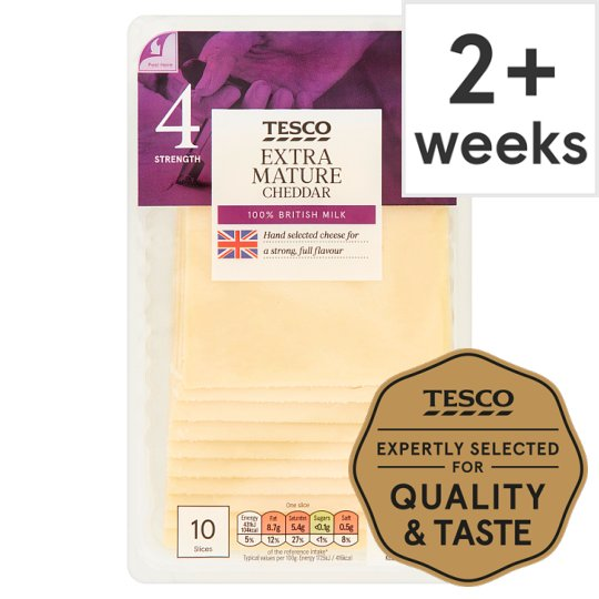 Tesco British Extra Mature Cheddar Cheese 10 Slce, 250 G