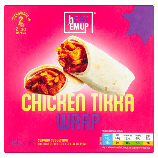 Heat Em Up Chicken Tikka Wrap 158G