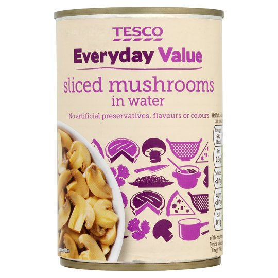 Tesco Everyday Value Slced Mushrooms In Water 285G