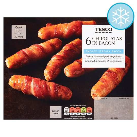 Tesco Chipolatas Wrapped In Bacon 6 Pack 192G
